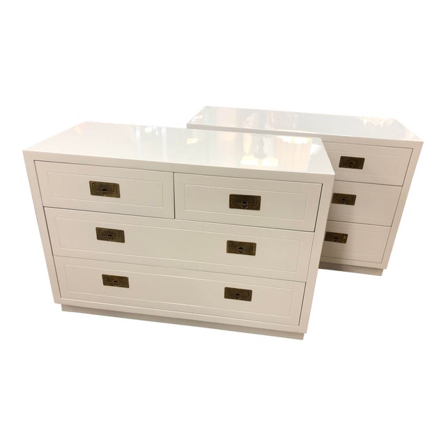 Pair of Campaign Style Chest by Henredon Home Furniture For Sale