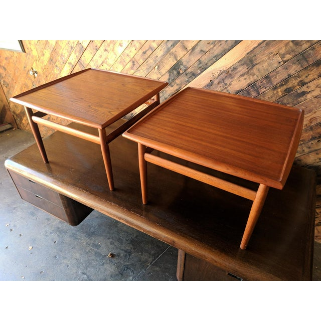 Brown Pair of Danish Teak Mid Century Side/Coffee Tables by Grete Jalk for Glostrup For Sale - Image 8 of 10
