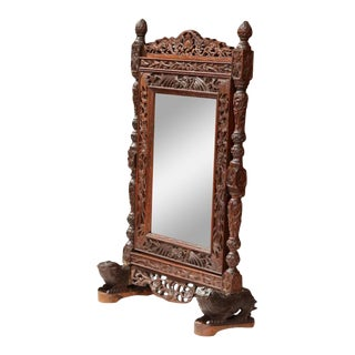19th Century French Black Forest Carved Free Standing Mirror With Beveled Glass For Sale