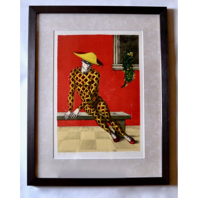 Aldo Pagliacci Signed Lithograph of Harlequin For Sale - Image 4 of 4