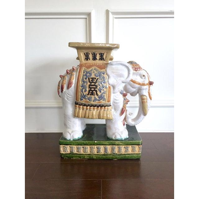Vintage Colorful Ceramic Elephant Garden Stool Chairish