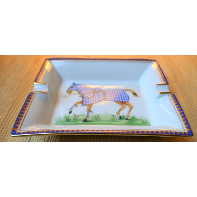 Antique White 1970s Hermes Porcelain Equestrian Ashtray For Sale - Image 8 of 10