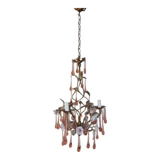 French Murano Pink Drops Beaded Porcelain Roses Helix Tole Chandelier For Sale