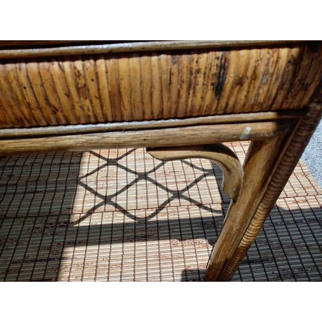 Vintage Rattan Stained Diamond Design Glass Top End Side Tables -A Pair For Sale In West Palm - Image 6 of 7