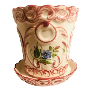 Late 20th Century Hand Painted Rccl Portugal Flower Pot & Tray For Sale