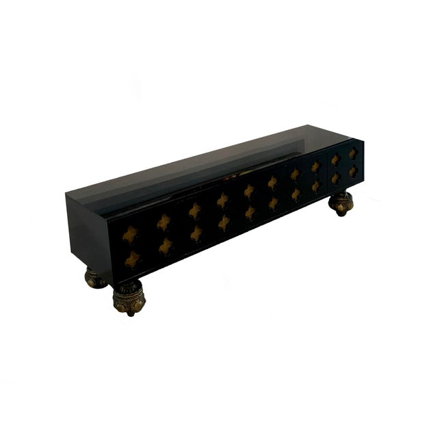 Moroccan Artist Moroccan Low Console Table With Moorish Cut Outs and Brass Accents For Sale - Image 4 of 8