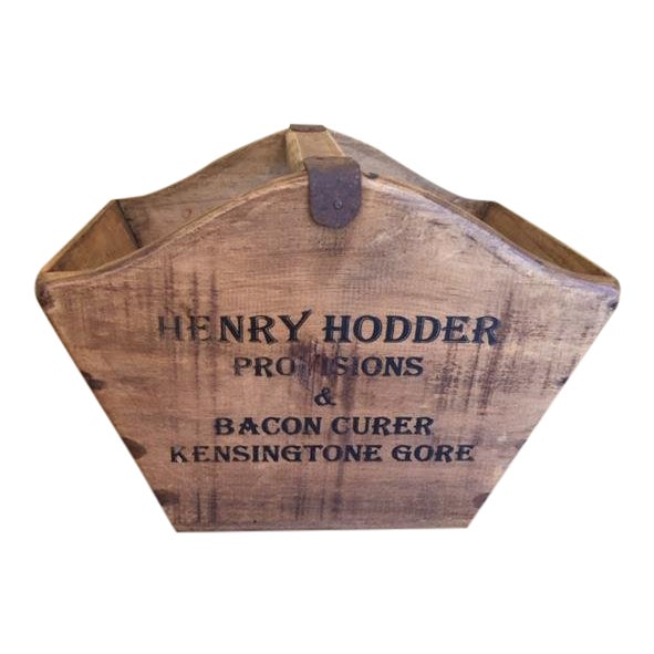 Vintage Mid-Century English Wooden Cheese and Ham Monger Basket For Sale