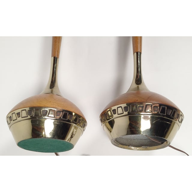 Mid-Century Wood & Brass Table Lamps - A Pair - Image 5 of 5