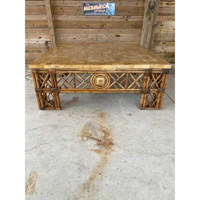 Chinese Chippendale Fretwork Rattan Coffee Table For Sale - Image 12 of 13