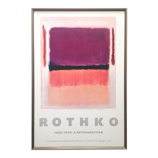 "Mark Rothko Rare Vintage 1978 Lithograph Print Framed Iconic Exhibition Poster "" Violet, Black, Orange, Yellow on White and Red "" 1949 For Sale"