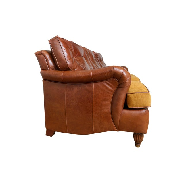 English Traditional English Rolled Arm Sofa With Genuine Leather For Sale - Image 3 of 10