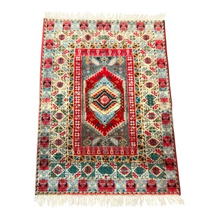 1960s Vintage Hand-Knotted Berber Moroccan Rug - 4′6″ × 6′4″ For Sale