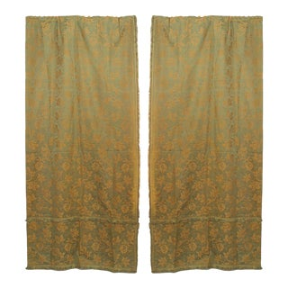Green and Gold Floral Silk Drapes For Sale