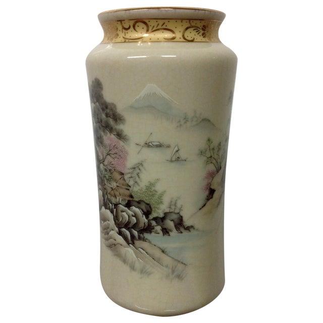 Japanese Arita Hand-Painted Porcelain Vase For Sale