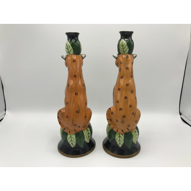 1980s Leopard Sculpture Candlestick Holders, Pair For Sale In Richmond - Image 6 of 9