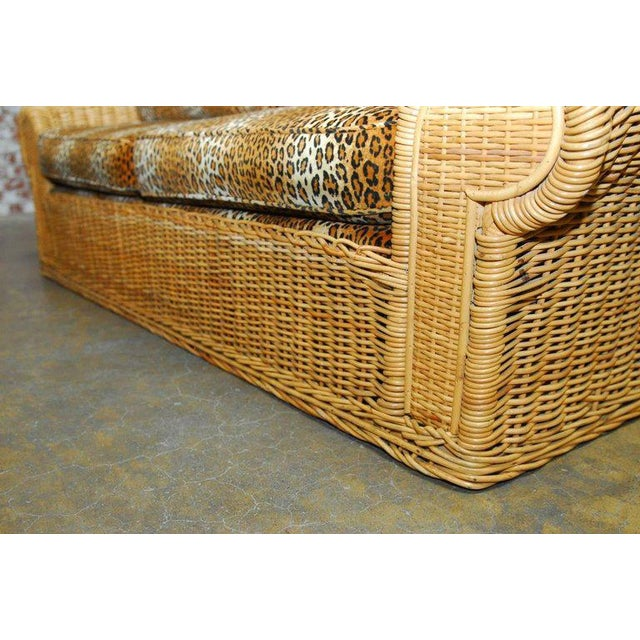 Michael Taylor Inspired Wicker Sofa Scalamandre Style Leopard Upholstery For Sale In San Francisco - Image 6 of 10