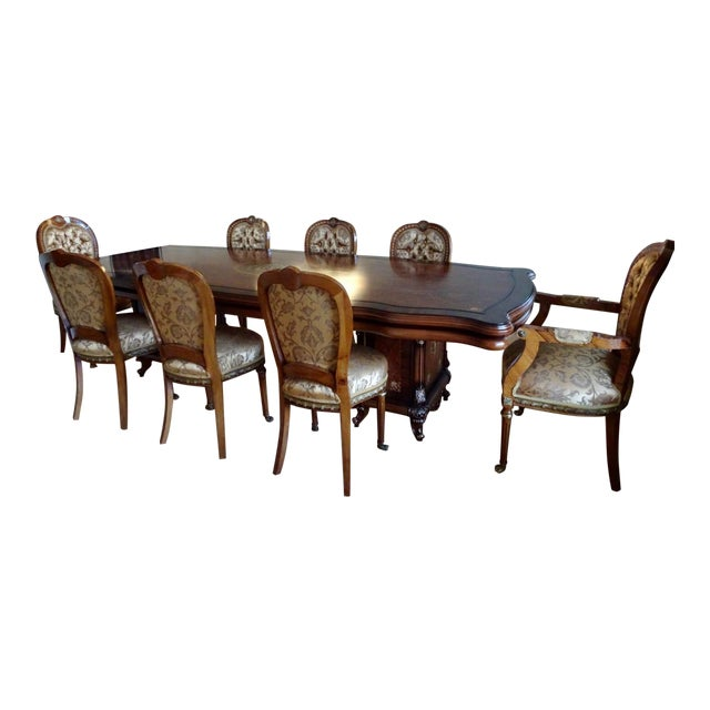 Extra Large Italian Baroque Style Solid Wood Dining Set - 9 Pieces For Sale