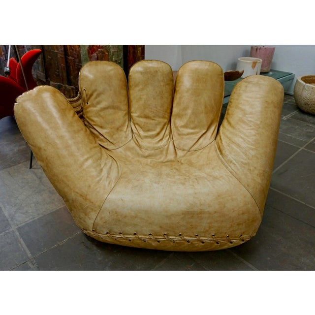 "1970s Leather Baseball Glove Chair Signed ""JOE"" for Poltronova For Sale - Image 9 of 9"