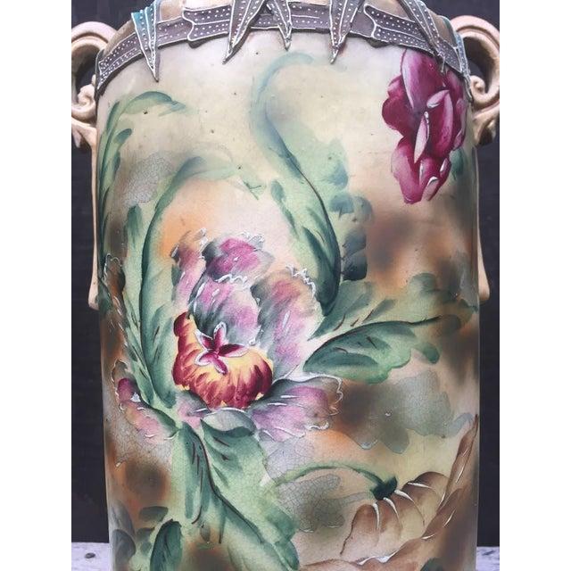 1860s Nippon Moriage Slip Floral Vase For Sale - Image 9 of 10