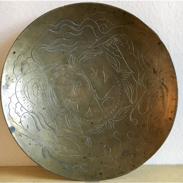 Asian Dragon Etched Brass Tray - Image 2 of 11