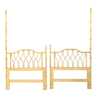1960s Hollywood Regency Ficks Reed Twin Faux Bamboo Headboards - a Pair