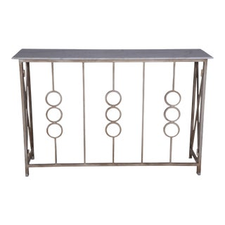Monterey Entryway Metal Console Table With Marble Top
