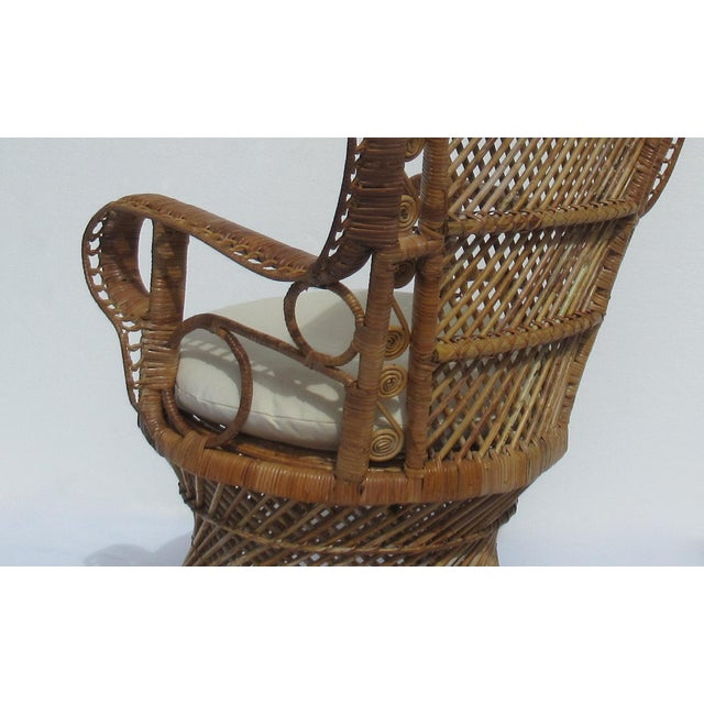Final Markdown: C1970s Vintage Bohemian Eclectic Boho Chic Rattan Raw Wicker Peacock Chair For Sale - Image 9 of 13