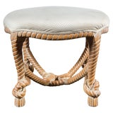 Image of Carved Wood Faux Rope Circular Bench, French Style For Sale