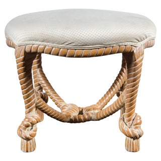 Carved Wood Faux Rope Circular Bench, French Style For Sale