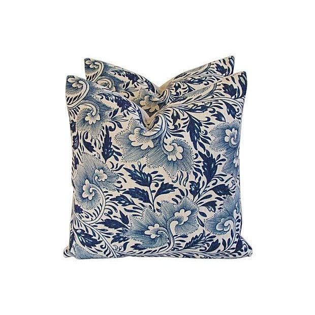 Custom Indigo Blue Floral Linen Pillows - Pair - Image 3 of 7