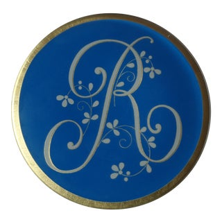 "Glass Monogram Initial Letter ""R"" Decorative Plate For Sale"