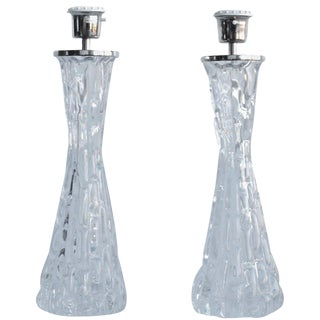 Pair of Large Table Lamps by Orrefors For Sale