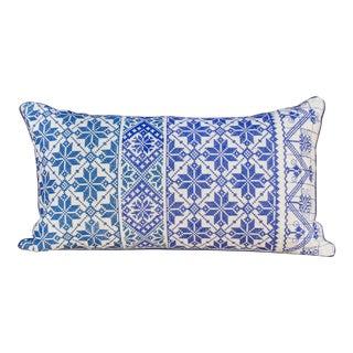 Itzel Tenejapa Silk Embroidered Lumbar Pillow For Sale