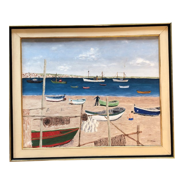 Mid Century Naive Boating Beach Scene. Painting For Sale