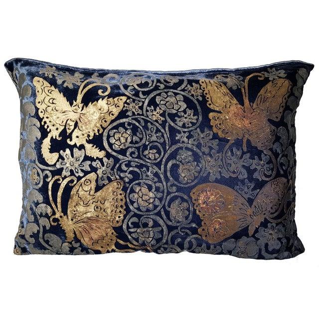 Mediterranean Butterflies Silk Velvet Pillow Cover For Sale - Image 3 of 3