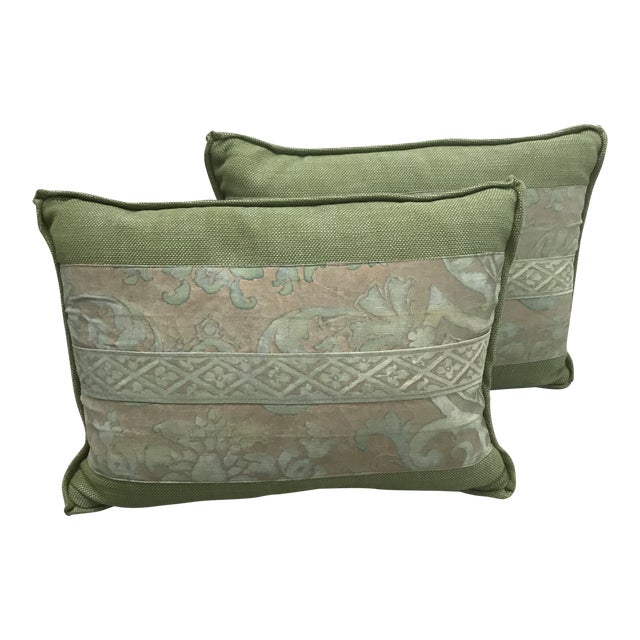 Fortuny Green Pillows - a Pair For Sale