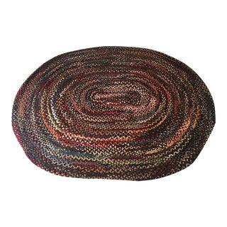 Farm House Style Handmade Braided Oval Rug - For Sale