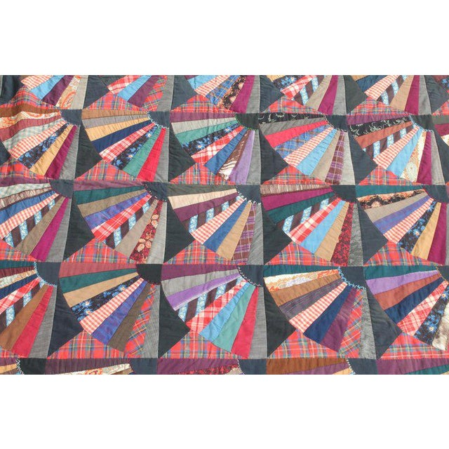 Late 19th Century 19th Century Crazy Fan Quilt For Sale - Image 5 of 11