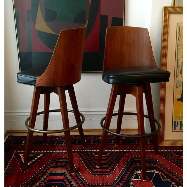 Mid-Century Walnut Bentwood, Leather Swivel Barstools - A Pair - Image 2 of 5
