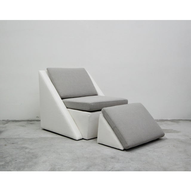 Post Modern Geometric Sofa and Chair With Ottoman Set by Thayer Coggin For Sale In Las Vegas - Image 6 of 13