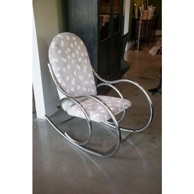 Mid-Century Modern Vintage Chrome Rocking Chair For Sale - Image 3 of 11