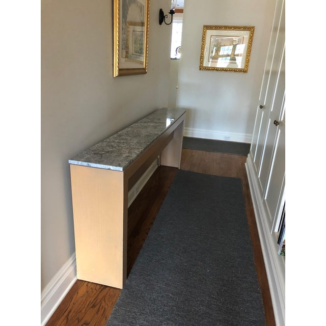 Contemporary Long & Narrow Sleek Birch and Marble Console Table For Sale In Philadelphia - Image 6 of 13
