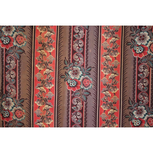 Antique French Fabric Rare Purple Red & Blue Madder Tones 1830 Roller Printed For Sale - Image 10 of 13