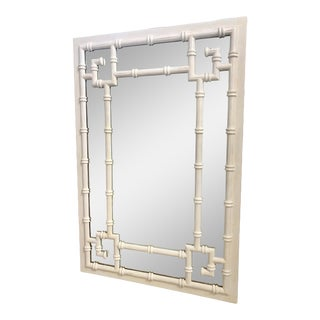 Vintage White Faux Bamboo Greek Key Wall Mirror For Sale