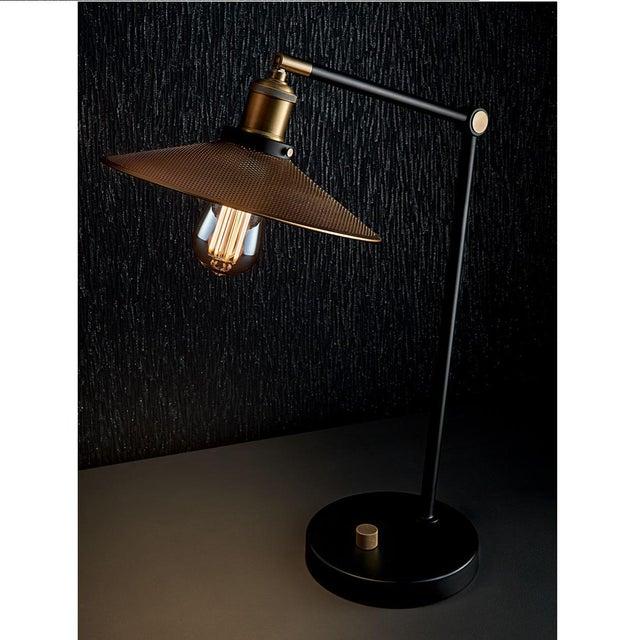 Brass and Satin Black Radar Desk Lamp For Sale - Image 4 of 5