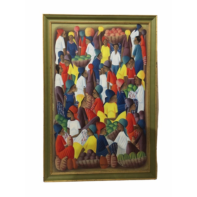 Vibrant and colorful oil on canvas painting of a Haitian market place by artist Andre Guervil. Features a bustling scene...
