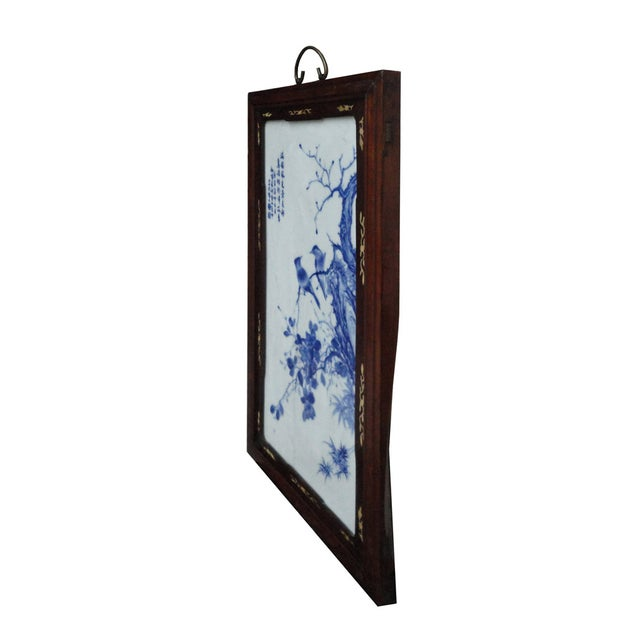 Asian Chinese Porcelain Painting Blue & White Wall Panel For Sale - Image 3 of 4