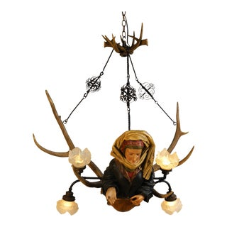 Circa Mid 19th Century Black Forest Style Chandelier For Sale