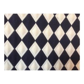 Schumacher Black and Off-White Diamond Matelasse Fabric