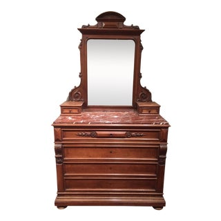Napoleon III Walnut Mirrored Dresser with Marble Top For Sale